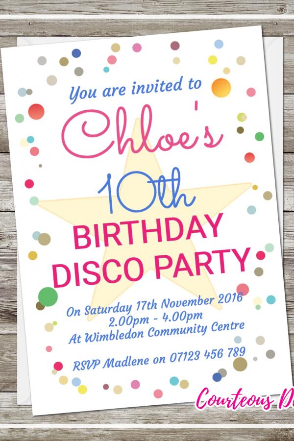 Birthday disco invites suavecards dotty disco party invitations stopboris Choice Image