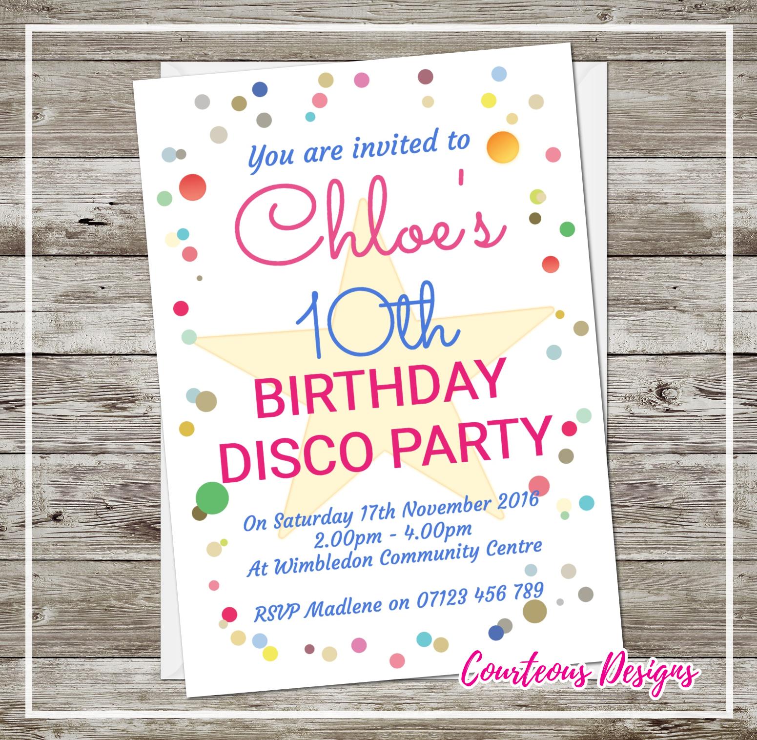 Dotty disco party invitations suavecards stopboris Choice Image
